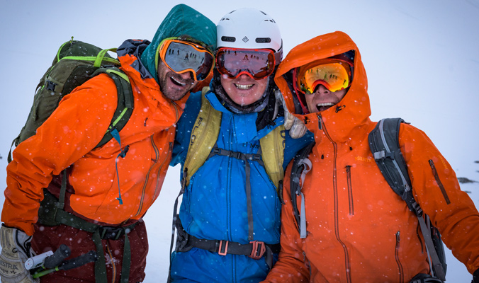 From left to right, Joe Vallone, Pelle Lang and Miles Smart sharing a moment on the way down to the memorial signs. Miles and Liz Smart took over Doug's Steep Skiing Camps and continue to run them to this date.