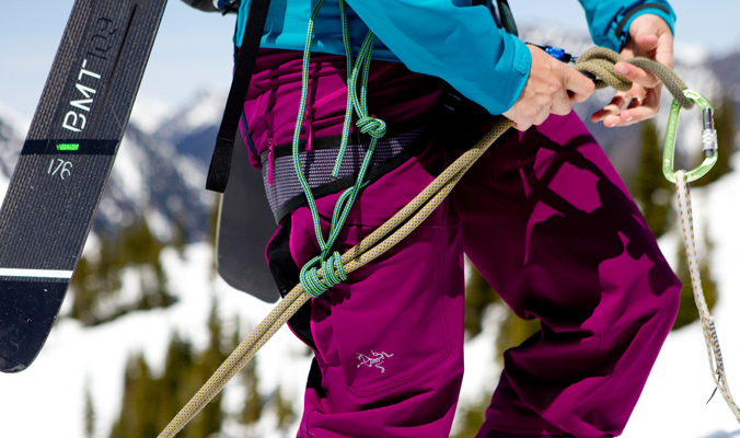 Learning rope work techniques for ski mountaineering is a primary component of the AFS curriculum. [Photo] Abby Cooper