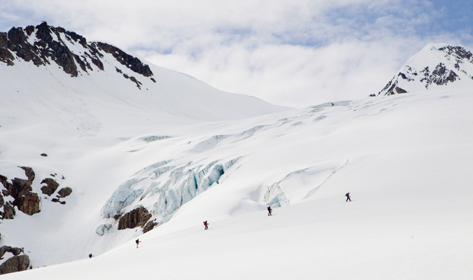 The AFS course happens at Selkirk Lodge in the midst of glacier terrain, so learning glacier travel techniques are stressed. [Photo] Abby Cooper