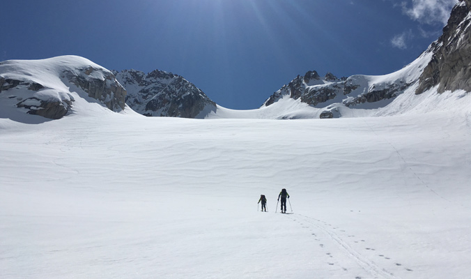 Mike Rolfs and Coron Polley ascending Silver Star Peak. | North Cascades, Washington | Photo: Lucy Higgins