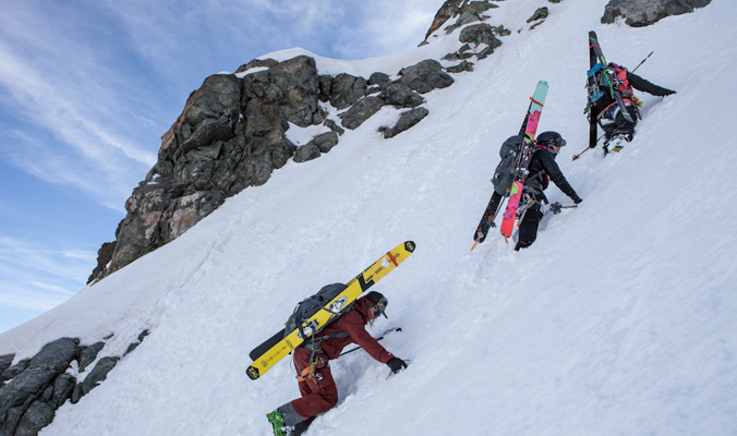 Holly Walker, Nat Segal and Sophie Lechasseurget to bootpacking before the sun wreaks havoc on the snow. [Photo]