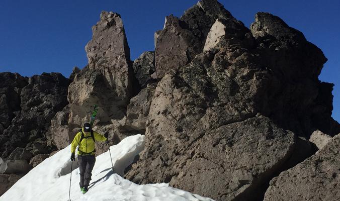 Rich Meyer works his way around Lassen Peak in search of summer corn. [Photo]