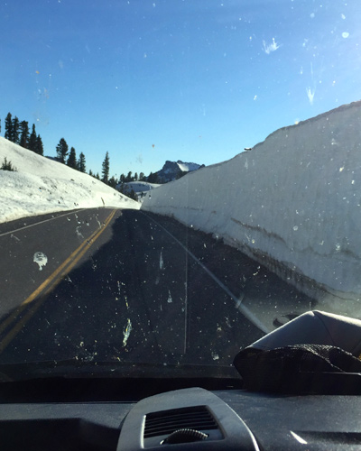 The snowbancks still loom above on the approach to Lassen Peak. [Photo] Courtesy Rich Meyer