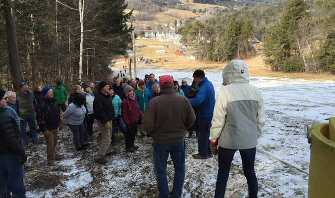 A tour of the new tow rope during the February 6, 2016 celebration of the acquisition and conservation of the Mountain. [Photo] Helen Tjader.