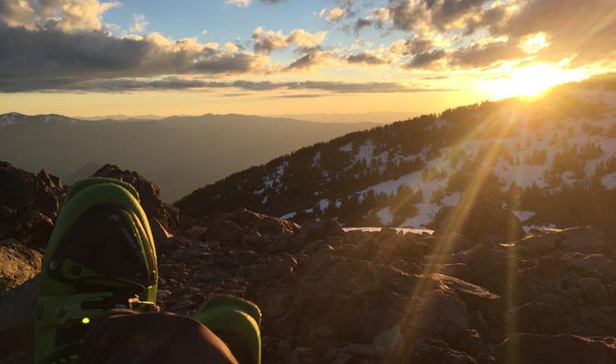 Meyer enjoys some après ski at sunset on the West Face. [Photo] Rich Meyer