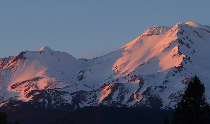 Sunset on the West Face of Shasta. [Photo] Rich Meyer