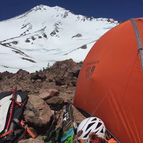 Mayer camps below the West Face. [Photo] Rich Meyer