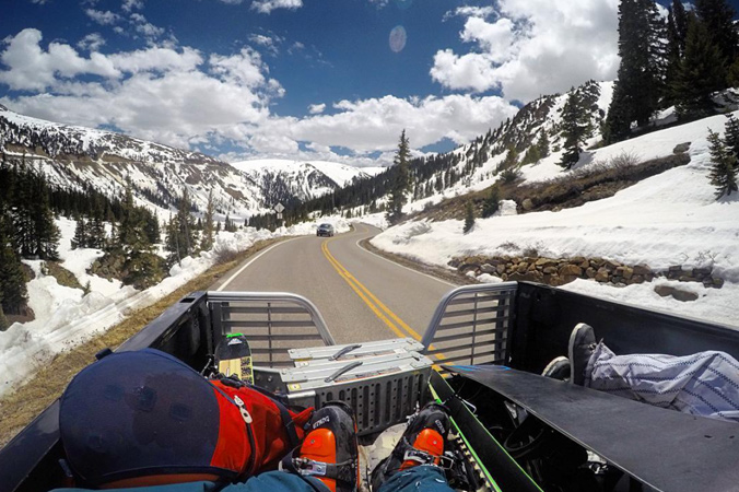 A ride up the pass takes Razinger and McClellan to their backcountry access point. [Photo] Tim McClellan