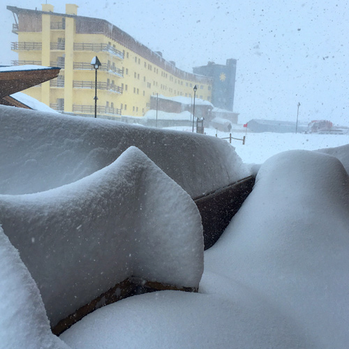 The snow stacks up outside the windows at Portillo. [Photo] Courtesy McKenna Peterson