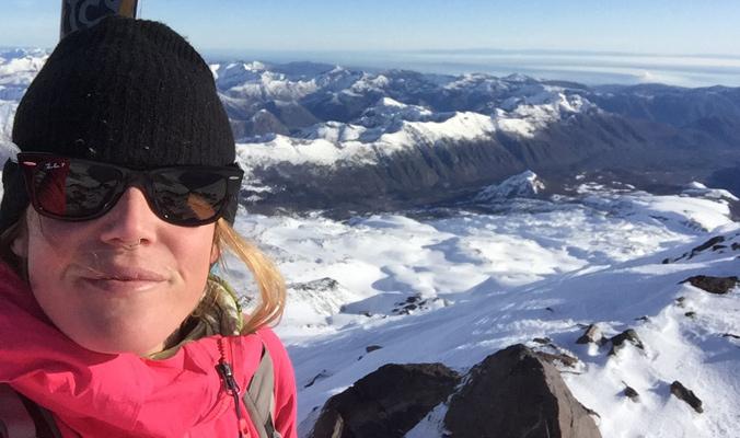 Tara takes a selfie on top of Volcan Nuevo, Las Trancas. [Photo] Alex Taran
