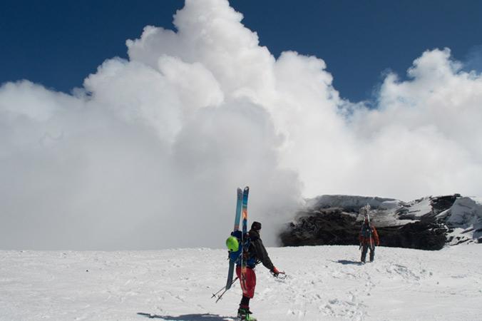 Berklund and Johnson tip-toe towards the active crater of Villa Rica, south of Santiago. [Photo] Jacob O'Connor