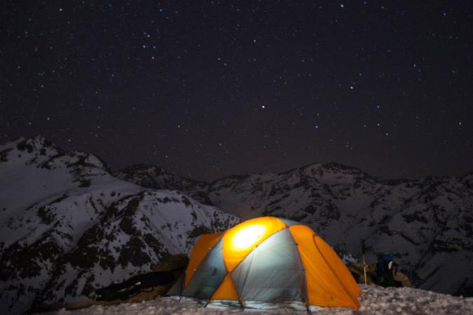 The team enjoys an evening in the Valle Nevado backcountry. [Photo] Jacob O'Connor