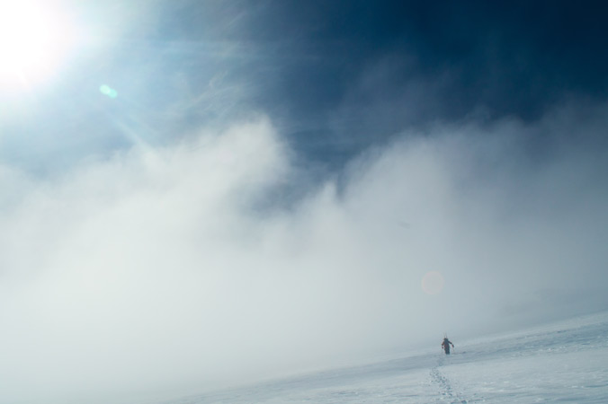 Austin Johnson heads for the summit of Volcano Puyeuhue in Southern Chile. [Photo] Jacob O'Connor