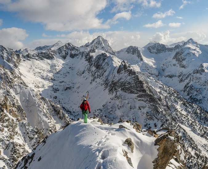 Crystal Wright topping out on the exposed rige of Gran Encantat, Spanish Pyrenees