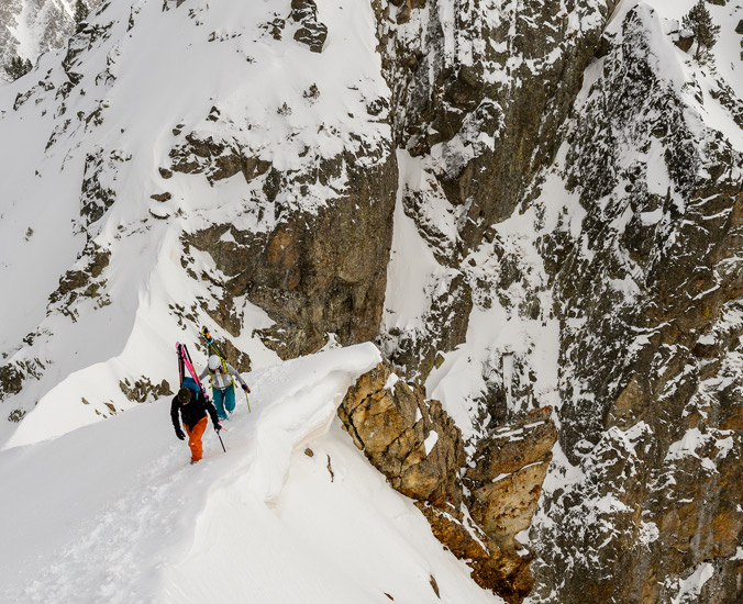 David Sanabria and Keely Kelleher climbing the north ridge of Gran Encantat, enroute to skiing hte Canal de central