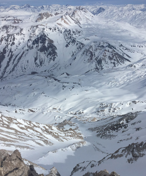A view of the Adrenalina Couloir from the top of