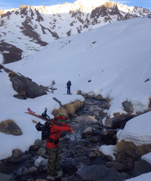 The team navigates stream crossings on the approach. [Photo] Aaron Rice