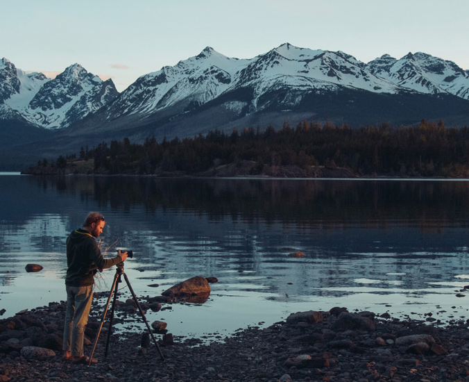 Jordan Manley hard at work combining the beauty of nature and culture in his films. [Photo] Chad Manley