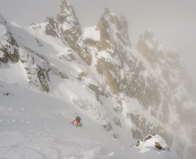 Crystal Wright topping out on Del Portarro Inferior (classic line), directly across the valley from Amitges hut, day 4.