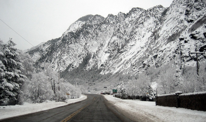 Looking up the road into Little Cottonwood Canyon. [Photo] Epak