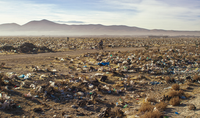 Many towns had no muncipal garbage collection and the result was plastic tumbleweeds for miles around the perimeters.