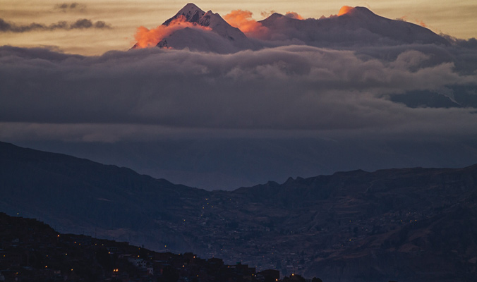 Sunrise on Illimani, Bolivia above La Paz