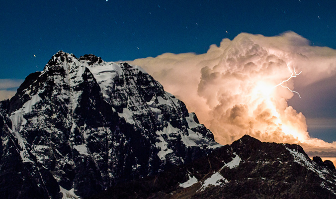 A thunderstorm rolls in over the Andes, Bolivia