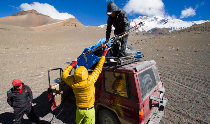 Our transport to the mountains in the Sajama district