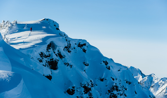 Cody Townsend hikes in the backcountry near Kaslo, British Columbia, Canada. [Photo] Mattias Fredriksson