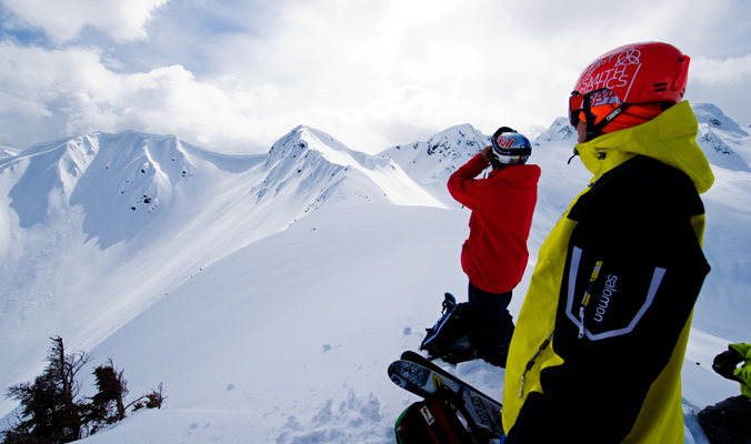 Henrik Windstedt and Cody Townsend scout lines in Terrace, British Columbia, Canada. [Photo] Mattias Fredriksson