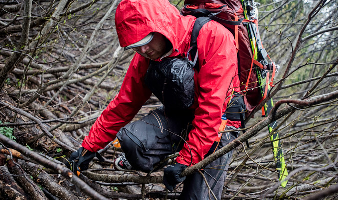Day 4: Tim Black battles vine maple on our way to the base of the Eel Glacier.