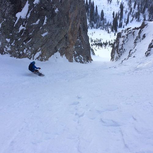 Reich makes her way down a visibly wind-affected slope in Grand Teton National Park. [Photo] Morgan McGlashon